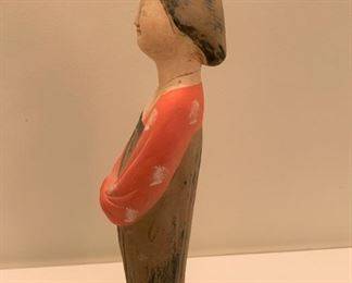 "Alternate view - Asian pottery figurine.  MEASUREMENTS:  12 1/2""H.  $25"