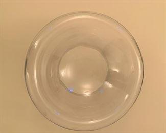 """Large glass center bowl.  MEASUREMENTS:  7""""H x 15 1/2""""W.  $20"""