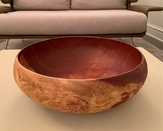 """Alternate view - Large hand carved centerpiece bowl.  Hairline fracture. MEASUREMENTS:  6""""H x 14 1/4"""" D.  $35"""