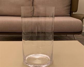 """Large glass vase.  MEASUREMENTS:  13 3/4""""H x 7 3/4""""D.  $10"""
