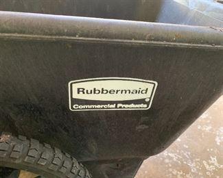 "Alternate view - Large Rubbermaid wheel barrow.  MEASUREMENTS:  28""H x 57""L x 28""W. Bucket measures 28""W x 44""L x 15""D.  $75"