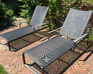 """Pair of chaise lounge chairs.  MEASUREMENTS:  71 1/2""""L x 30 3/4""""W.  $300 Each."""