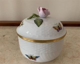 "Herend small lidded jar.  MEASUREMENTS: 3 1/2"" H.  $30"