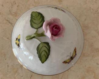 "Alternate view - Herend small lidded jar.  MEASUREMENTS: 3 1/2"" H.  $30"