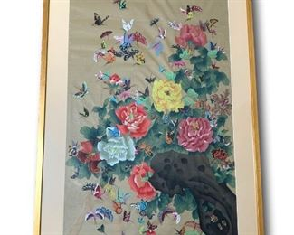 """100 Painted Butterflies on Silk from China.  Large and heavy piece. MEASUREMENTS:  51""""H x 30""""W x 2""""D.   $200"""