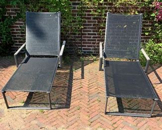 """Alternate view - Pair of chaise lounge chairs.  MEASUREMENTS:  71 1/2""""L x 30 3/4""""W.  $300 Each."""