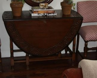 "Carved antique Oak gate leg drop leaf Dining table – 61"" leaves up 21"" down - $ 475"