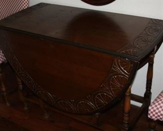 "Carved antique Oak gate leg drop leaf Dining table – 61"" leaves up 21"" down - $475"