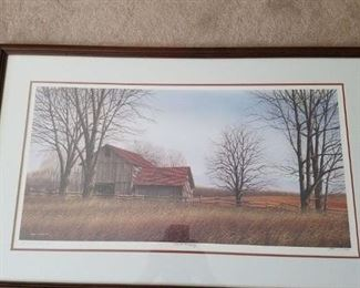 Beautiful barn print double matted frame