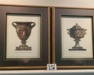 Lot 518.  $200 each.  $350.00 for both.   2 Framed Art Shadow Boxes depicting urns with Italian descriptions. Check out the close-up pics; these are lovely.