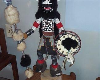 #111. Black Buffalo Warrior Kachina. 26 inches tall. $175.