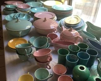 HUGE collection of fiesta ware in pastels -some luray  and more rare finds- great for collectors !!