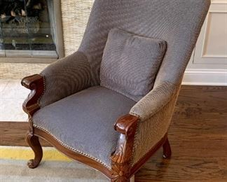 $200 each - Vintage Upholstered Armchairs - there are 2 of these (carved wood detail & nail head trim)
