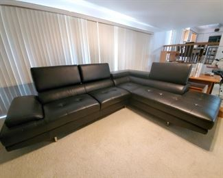"""Eco Leather """"L"""" Shaped Couch with Fold Down Backs."""