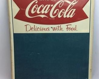 CIRCA 1950'S COCA COLA EMBOSSED MENU SIGN