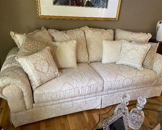 GORGEOUS MEDIUM SIZE OFF WHITE SOFA W/PILLOWS, PRISTINE CONDITION $650 OR BEST OFFER