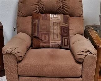 Great brown fabric recliner. $175. There is a matching pair. 2 available.