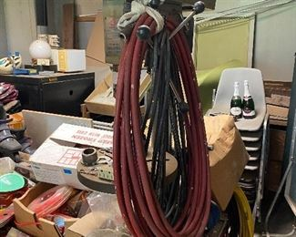Orbit drill press and air compressor hose; stackable chairs, tools