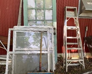 Old doors and windows, another aluminum ladder