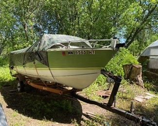 PRE-SALE ITEM:  19' Crestliner '72  boat and trailer with 115 hp Mercury outboard motor