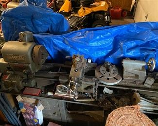 PRE-SALE ITEM:  Craftsman Commercial Lathe, approx. 6' on table/stand, includes several tools