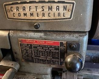 Close up of Craftsman Commercial lathe