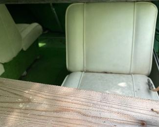 PRE-SALE ITEM: Homemade wood frame to hold boat cover.  Four seats. Super fun avocado green carpet!