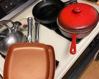 Copper pans, cast iron pans