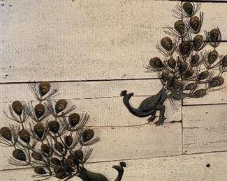 Metal peacock wall art