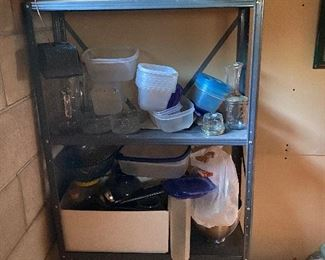 Misc kitchen, metal shelving unit