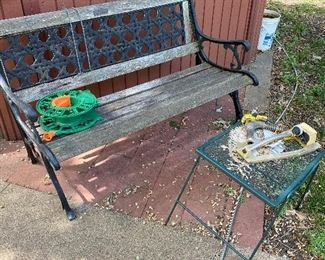 Outdoor bench, metal end table