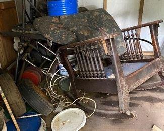 Antique rocker, misc tires, plastic concrete filled weight set