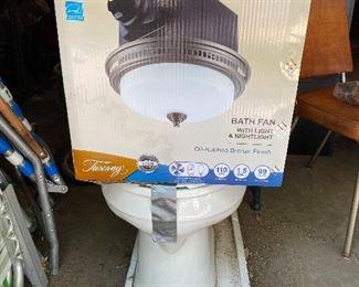 Toilet; bath fan with light