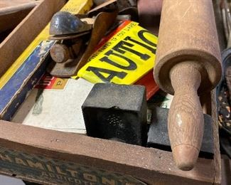 Wood crate, wood rolling pin, planes, vintage plastic S&P shakers