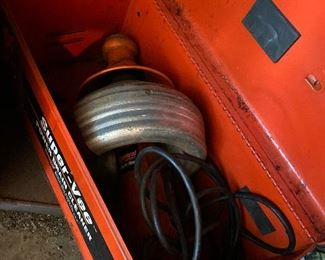 Super-Vee power drain cleaner in metal case