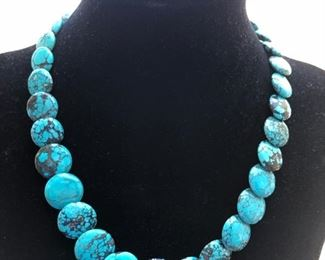 Beautiful Real Turquoise Coin Necklace $105 with a lobster claw clasp with 1 inch extension chain.
