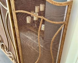 Side view of fireplace screen