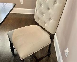 "$280 for pair - upholstered tufted, nailhead trimmed dining chairs. Two available.  43""H x 22""D x 20.5""W"