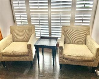 "$295 Pair of Crate & Barrel club chairs 34""H x 34""D x 31""W"