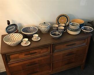 Mid century buffet with ceramics made in Poland