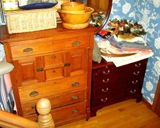 Henkel-Harris four Victorian drawer chest, Victorian  ash chest and other items.