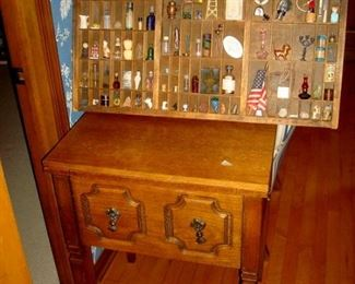 Mid century stand and printer's drawer full of small collectibles.
