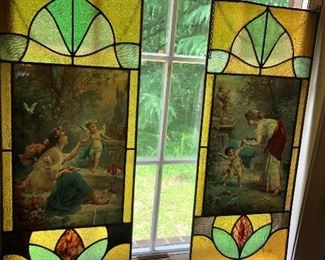 Antique pair of stained glass