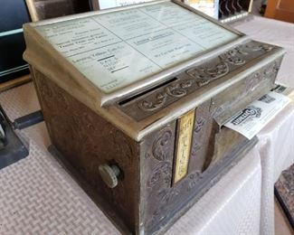 AMAZING RARE HOTEL ANTIQUE STAIONARY DISPENSER...NATIONAL STATIONARY CABINET