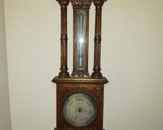 Hand Carved Wood Wall Barometer