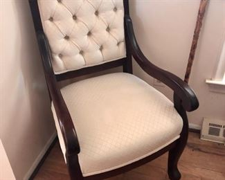 Solid wood armchair with clean upholstery - one of a pair