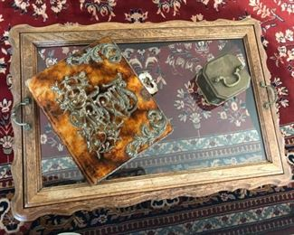 Victorian photo album on glass tray table
