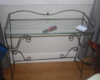 WROUGHT IRON AND GLASS CONSOLE