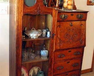 "Antique Solid Wood 4-Drawer Secretary Cabinet With Carved Front & Beveled Glass Tilt Mirror, 67"" x 44"" x 14"", With Key"