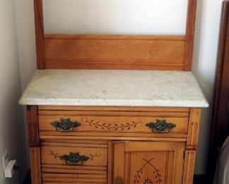"Antique 3-Drawer Wash Stand With Marble Top And Carved Drawer Fronts, 50"" x 31"" x 17"""